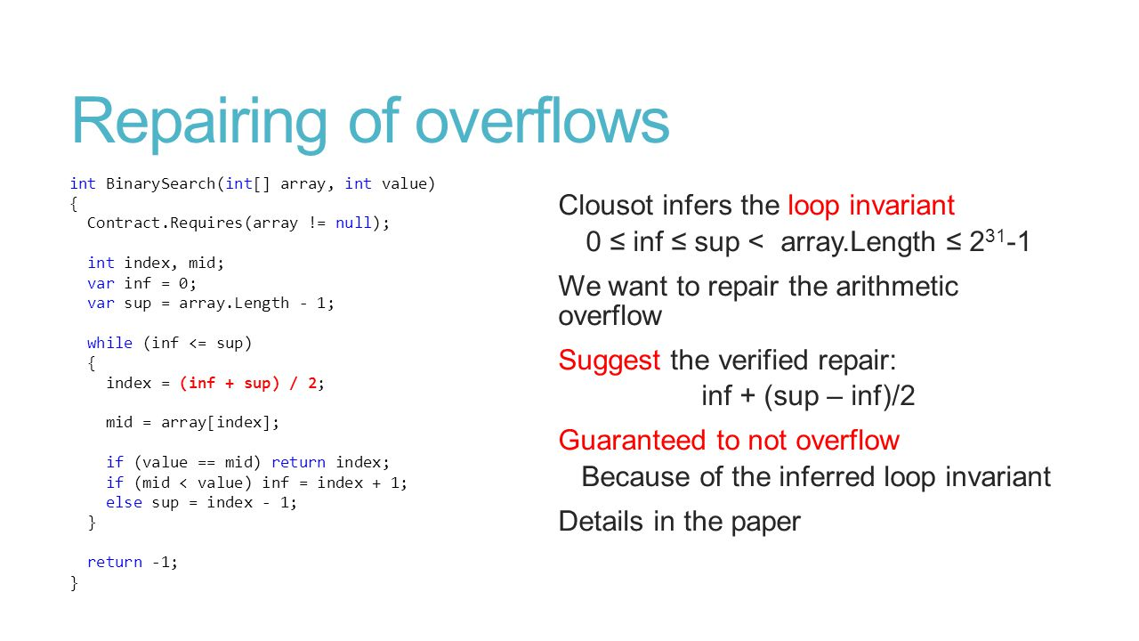 Repairing of overflows int BinarySearch(int[] array, int value) { Contract.Requires(array != null); int index, mid; var inf = 0; var sup = array.Length - 1; while (inf <= sup) { index = (inf + sup) / 2; mid = array[index]; if (value == mid) return index; if (mid < value) inf = index + 1; else sup = index - 1; } return -1; } Clousot infers the loop invariant 0 ≤ inf ≤ sup < array.Length ≤ 2 31 -1 We want to repair the arithmetic overflow Suggest the verified repair: inf + (sup – inf)/2 Guaranteed to not overflow Because of the inferred loop invariant Details in the paper