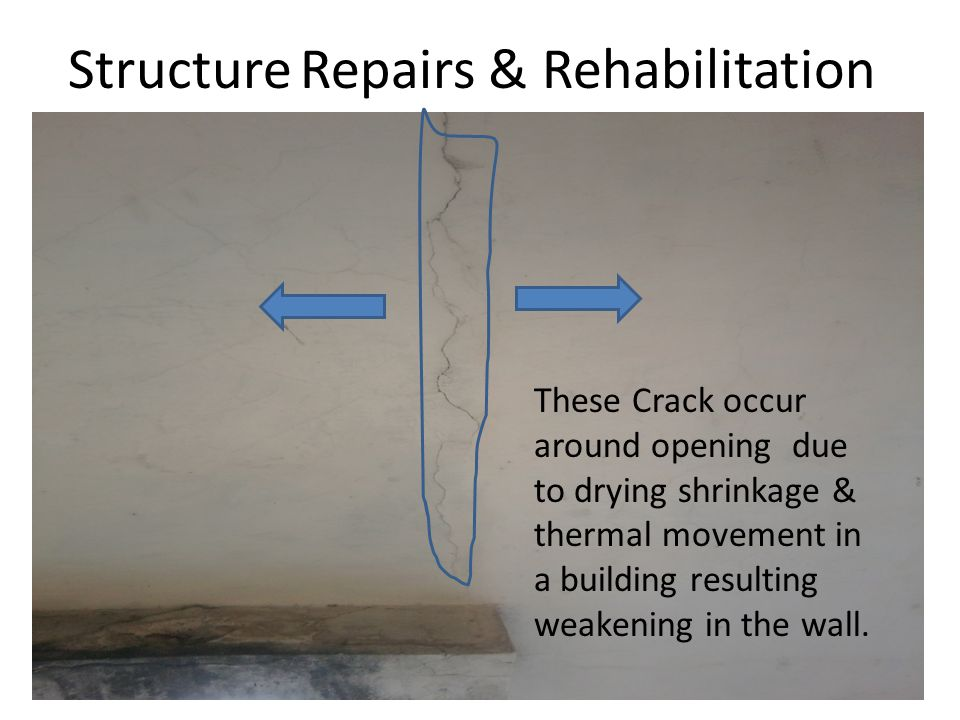 Structure Repairs & Rehabilitation These Crack occur around opening due to drying shrinkage & thermal movement in a building resulting weakening in th