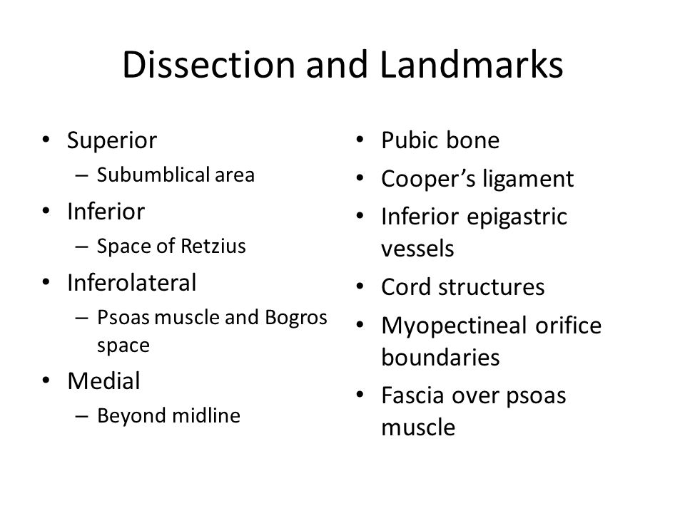 Dissection and Landmarks Superior – Subumblical area Inferior – Space of Retzius Inferolateral – Psoas muscle and Bogros space Medial – Beyond midline