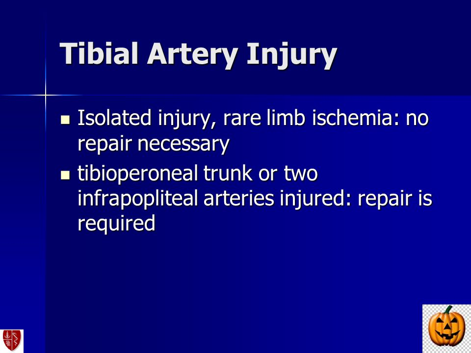 Isolated injury, rare limb ischemia: no repair necessary Isolated injury, rare limb ischemia: no repair necessary tibioperoneal trunk or two infrapopl