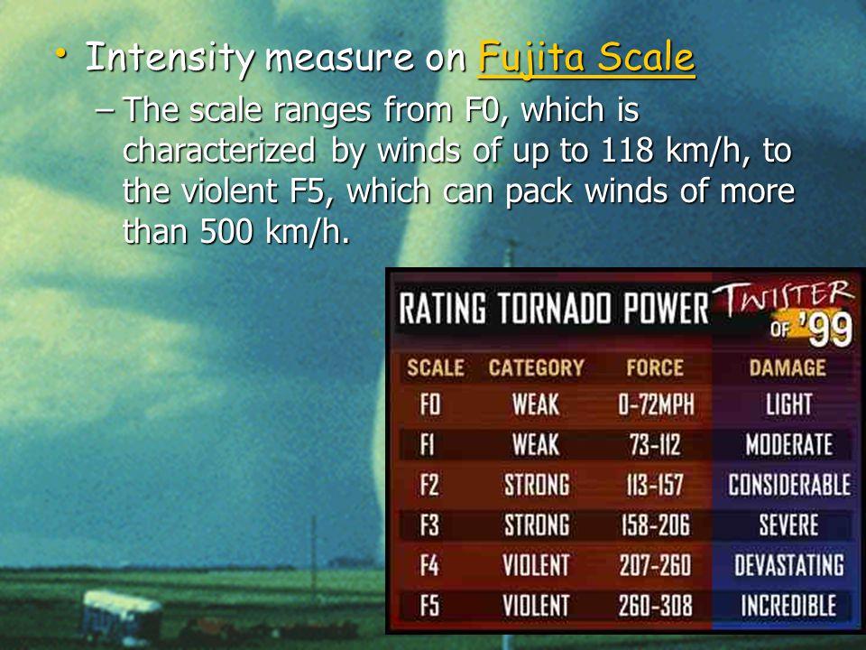 Mr. Ertl Earth Science Intensity measure on Fujita Scale Intensity measure on Fujita ScaleFujita ScaleFujita Scale –The scale ranges from F0, which is