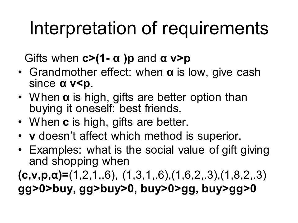 Interpretation of requirements Gifts when c>(1- α )p and α v>p Grandmother effect: when α is low, give cash since α v<p. When α is high, gifts are bet