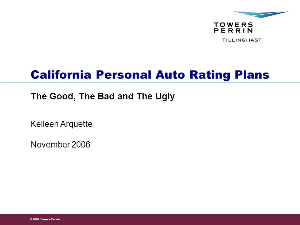 © 2006 Towers Perrin 2 Agenda California Private Passenger Automobile Regulations Background – Proposition 103 New Regulations Market Impact —Pumping and Tempering —Market Studies —Industry Comments —Lessons from Other States What Can Companies Do.