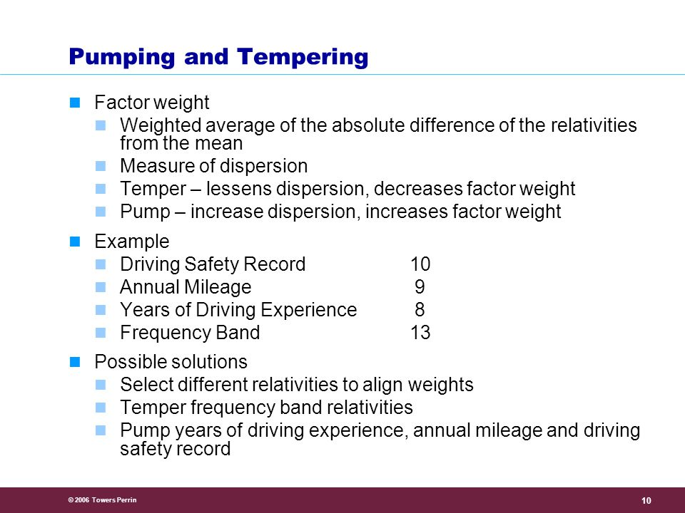 © 2006 Towers Perrin 10 Pumping and Tempering Factor weight Weighted average of the absolute difference of the relativities from the mean Measure of dispersion Temper – lessens dispersion, decreases factor weight Pump – increase dispersion, increases factor weight Example Driving Safety Record10 Annual Mileage 9 Years of Driving Experience 8 Frequency Band13 Possible solutions Select different relativities to align weights Temper frequency band relativities Pump years of driving experience, annual mileage and driving safety record