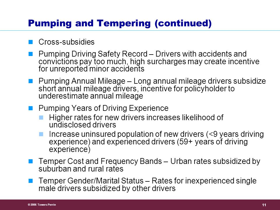 © 2006 Towers Perrin 11 Pumping and Tempering (continued) Cross-subsidies Pumping Driving Safety Record – Drivers with accidents and convictions pay too much, high surcharges may create incentive for unreported minor accidents Pumping Annual Mileage – Long annual mileage drivers subsidize short annual mileage drivers, incentive for policyholder to underestimate annual mileage Pumping Years of Driving Experience Higher rates for new drivers increases likelihood of undisclosed drivers Increase uninsured population of new drivers (<9 years driving experience) and experienced drivers (59+ years of driving experience) Temper Cost and Frequency Bands – Urban rates subsidized by suburban and rural rates Temper Gender/Marital Status – Rates for inexperienced single male drivers subsidized by other drivers