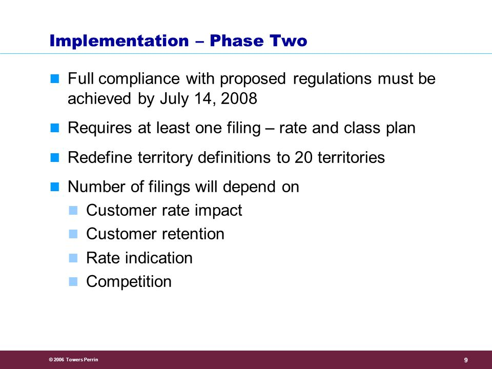 © 2006 Towers Perrin 9 Implementation – Phase Two Full compliance with proposed regulations must be achieved by July 14, 2008 Requires at least one filing – rate and class plan Redefine territory definitions to 20 territories Number of filings will depend on Customer rate impact Customer retention Rate indication Competition