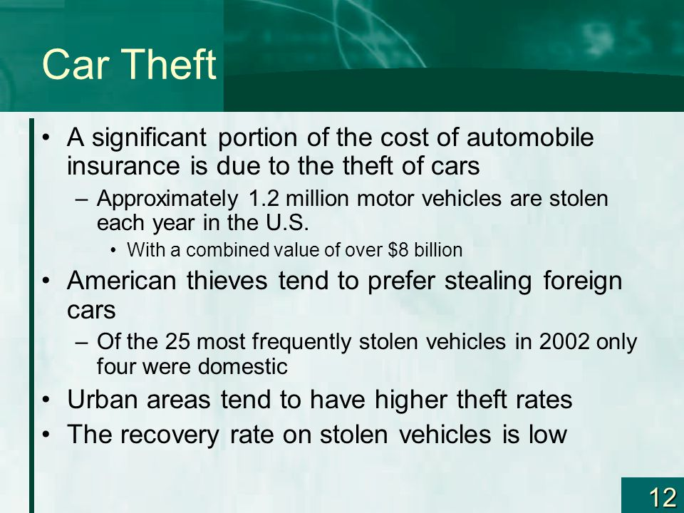 12 Car Theft A significant portion of the cost of automobile insurance is due to the theft of cars –Approximately 1.2 million motor vehicles are stolen each year in the U.S.