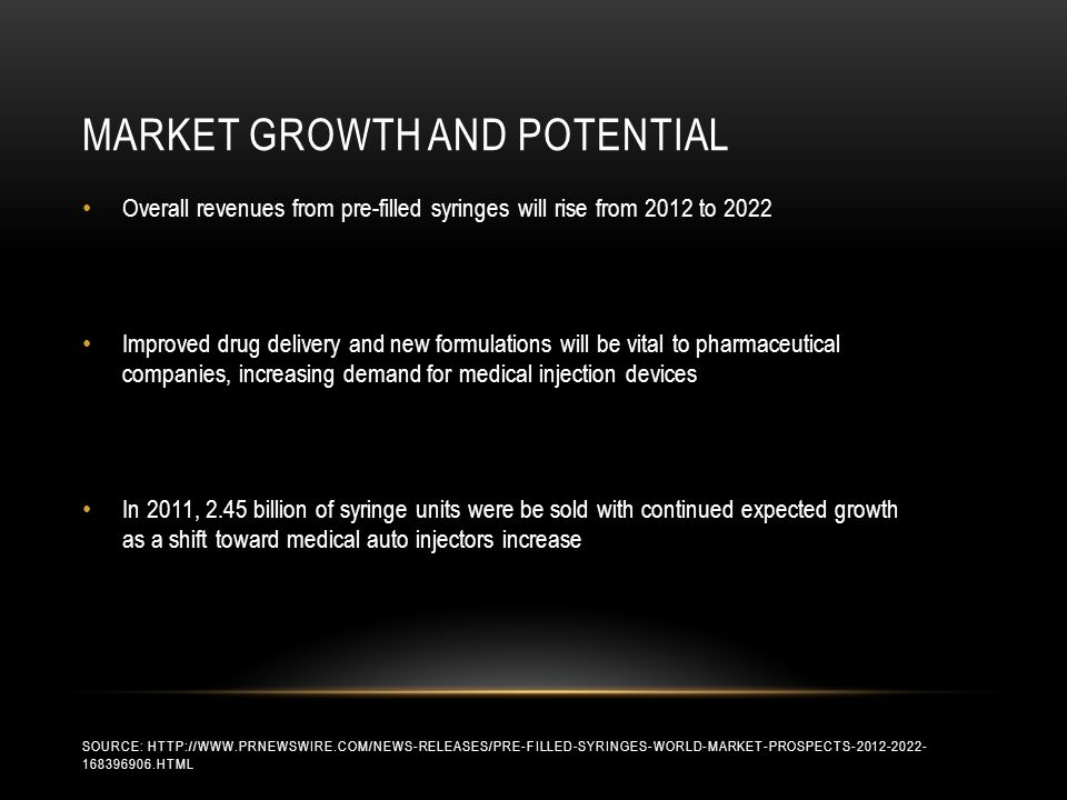 MARKET GROWTH AND POTENTIAL SOURCE: HTTP://WWW.PRNEWSWIRE.COM/NEWS-RELEASES/PRE-FILLED-SYRINGES-WORLD-MARKET-PROSPECTS-2012-2022- 168396906.HTML Overall revenues from pre-filled syringes will rise from 2012 to 2022 Improved drug delivery and new formulations will be vital to pharmaceutical companies, increasing demand for medical injection devices In 2011, 2.45 billion of syringe units were be sold with continued expected growth as a shift toward medical auto injectors increase