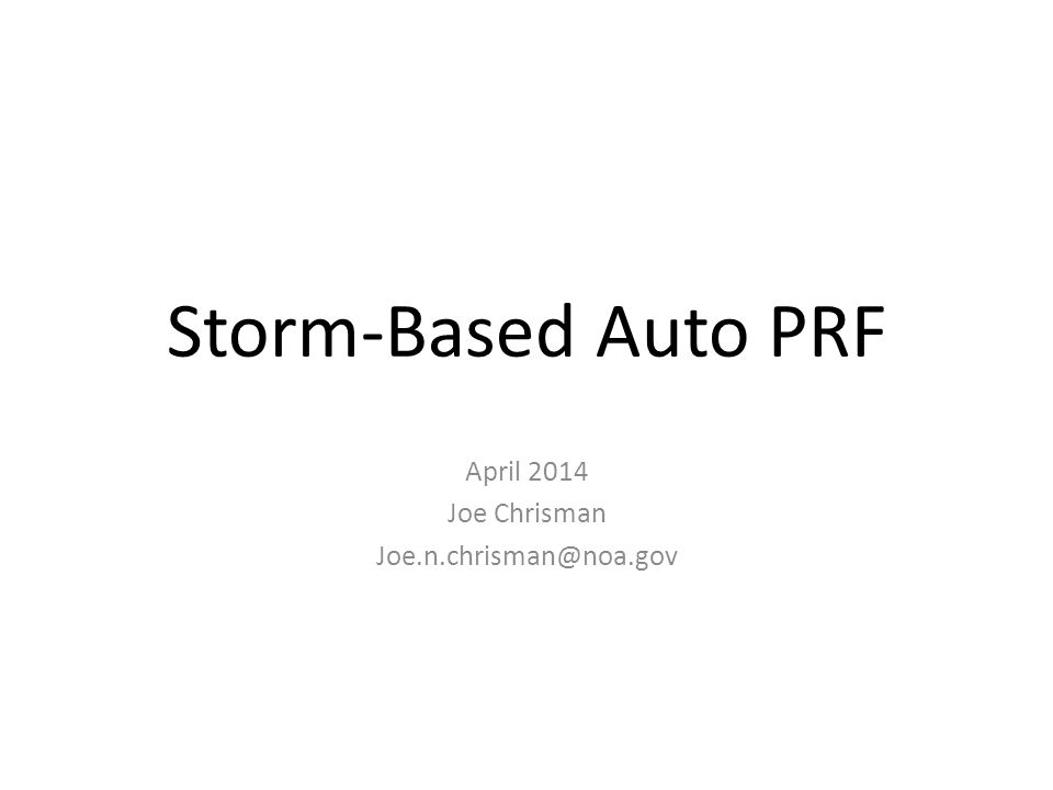 Storm-Based Auto PRF Functional Overview The PRF Selection Function selects the 3 1 most significant storms based on the highest storm- based VIL (Storms must have a VIL > 20 kg/m 2 ) The forecast positions from SCIT are used to project where these storms will be next volume scan The Auto PRF algorithm: – Calculates a storm circle for each storm.