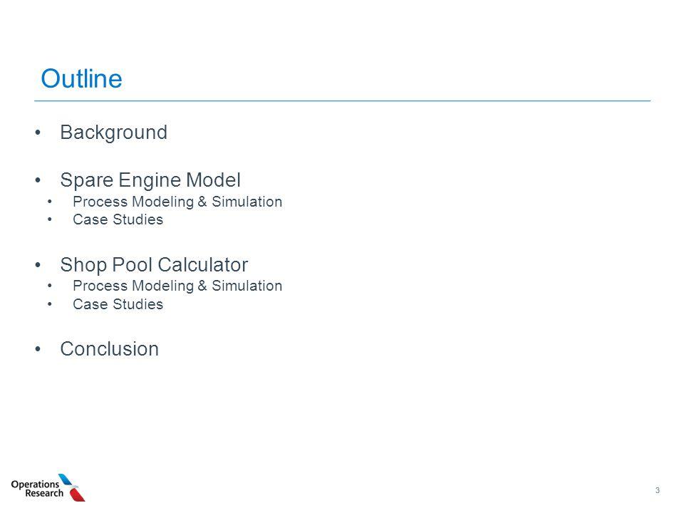 33 Outline Background Spare Engine Model Process Modeling & Simulation Case Studies Shop Pool Calculator Process Modeling & Simulation Case Studies Co