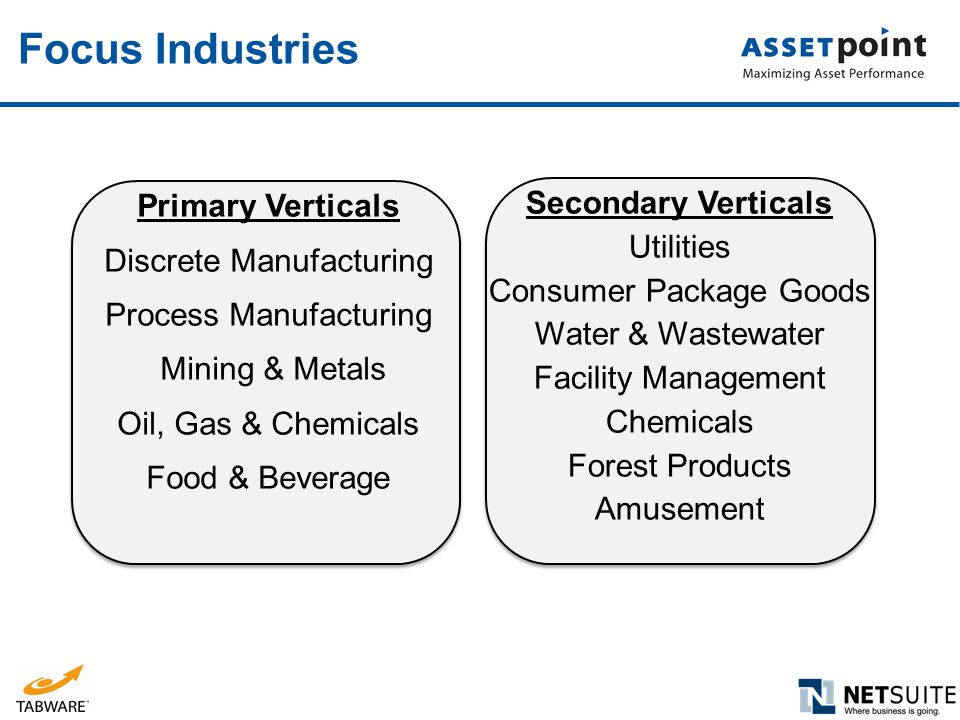 Primary Verticals Discrete Manufacturing Process Manufacturing Mining & Metals Oil, Gas & Chemicals Food & Beverage Secondary Verticals Utilities Cons
