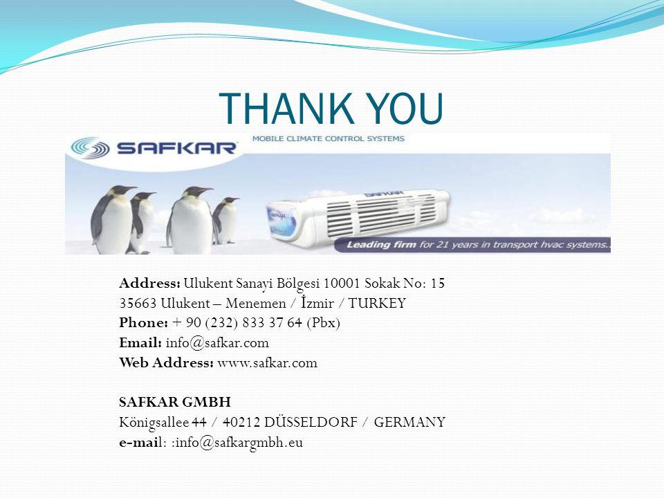 THANK YOU Address: Ulukent Sanayi Bölgesi 10001 Sokak No: 15 35663 Ulukent – Menemen / İ zmir / TURKEY Phone: + 90 (232) 833 37 64 (Pbx) Email: info@s