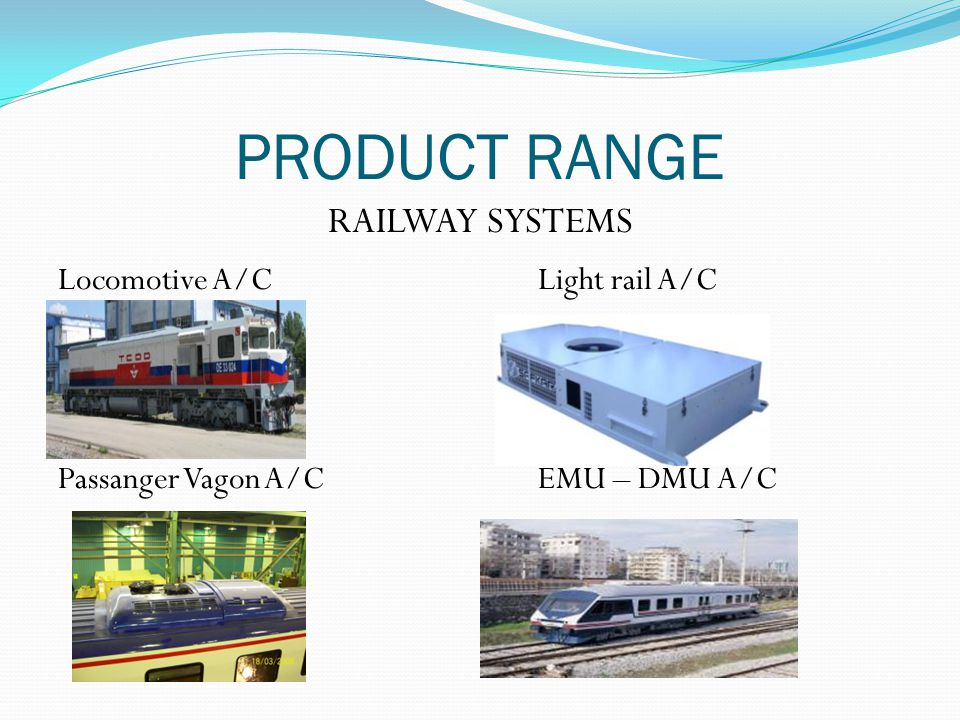 PRODUCT RANGE Locomotive A/CLight rail A/C Passanger Vagon A/CEMU – DMU A/C RAILWAY SYSTEMS