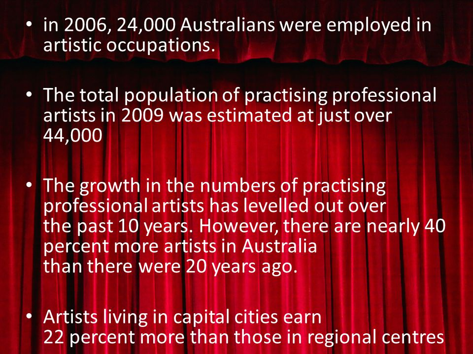 in 2006, 24,000 Australians were employed in artistic occupations.