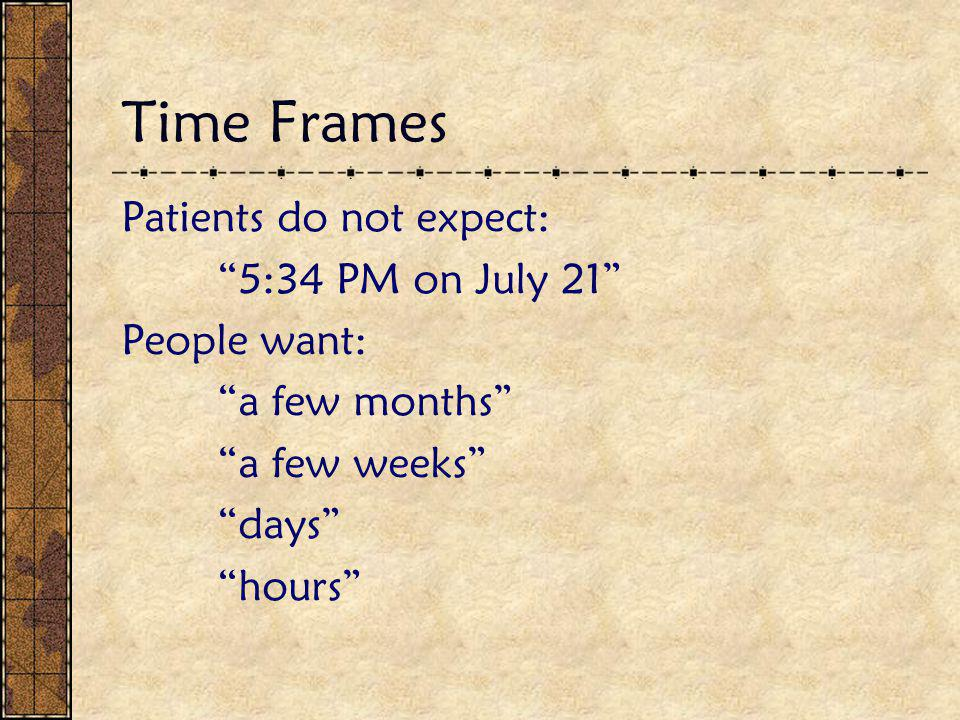 """Time Frames Patients do not expect: """"5:34 PM on July 21"""" People want: """"a few months"""" """"a few weeks"""" """"days"""" """"hours"""""""
