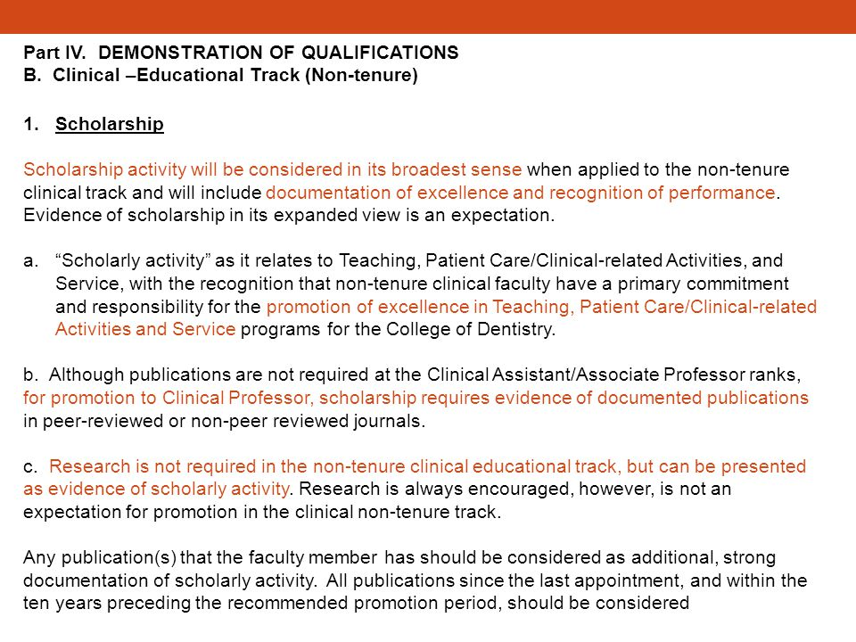 Part IV. DEMONSTRATION OF QUALIFICATIONS B.