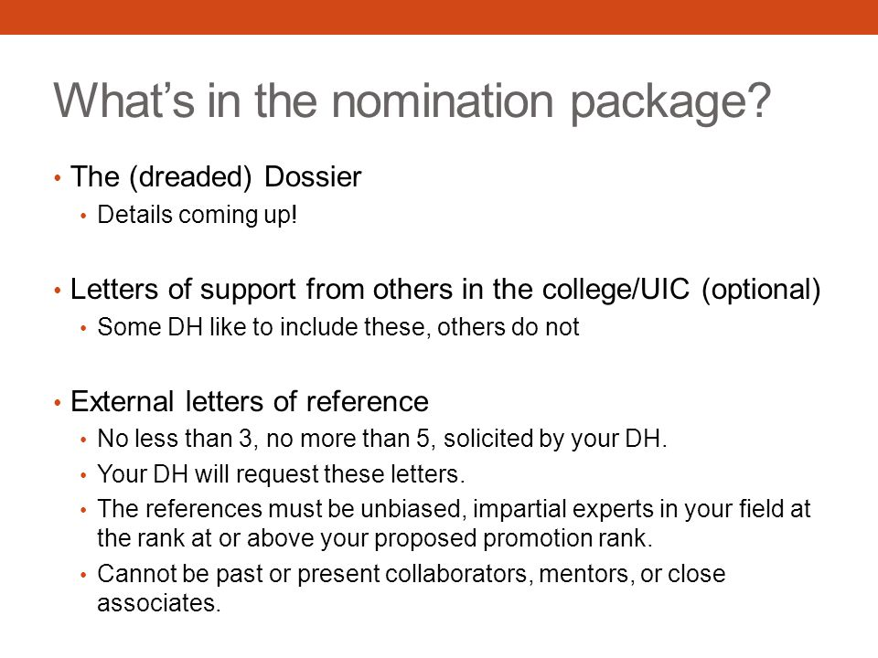 What's in the nomination package. The (dreaded) Dossier Details coming up.