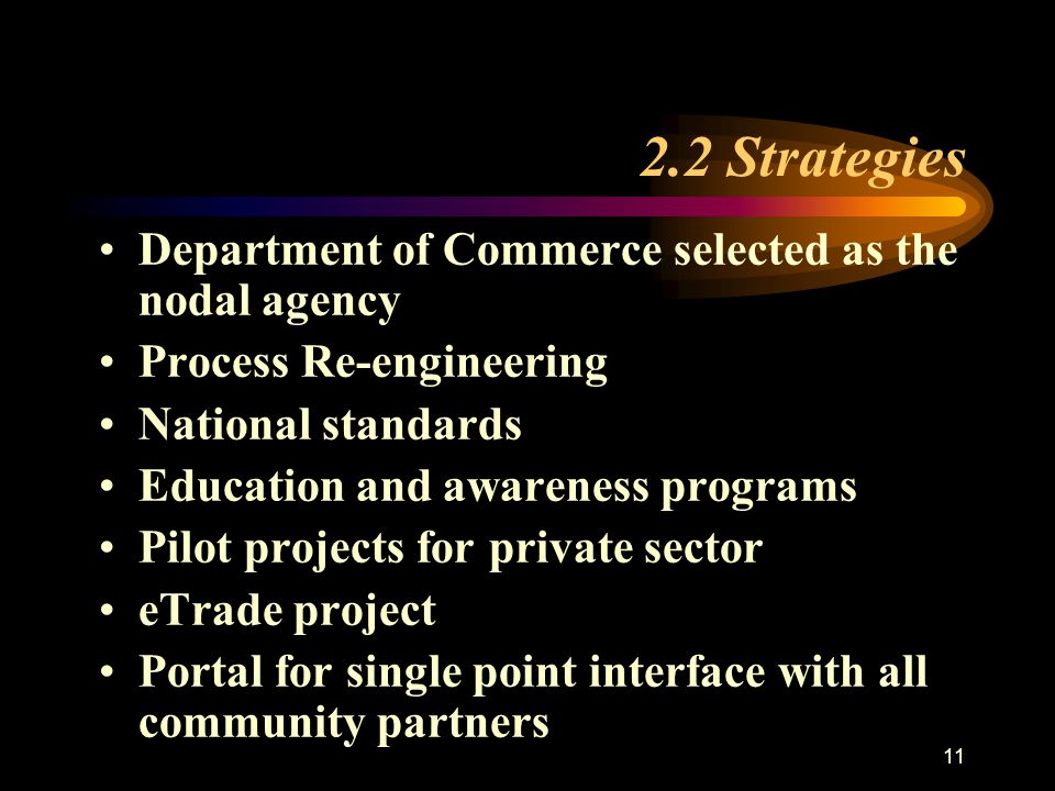 11 Department of Commerce selected as the nodal agency Process Re-engineering National standards Education and awareness programs Pilot projects for private sector eTrade project Portal for single point interface with all community partners 2.2 Strategies