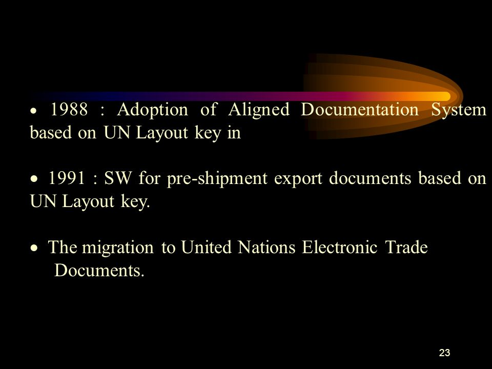  1988 : Adoption of Aligned Documentation System based on UN Layout key in  1991 : SW for pre-shipment export documents based on UN Layout key.