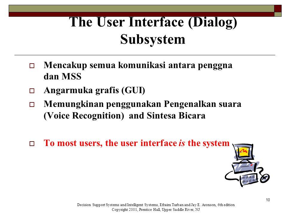 10 The User Interface (Dialog) Subsystem  Mencakup semua komunikasi antara penggna dan MSS  Angarmuka grafis (GUI)  Memungkinan penggunakan Pengenalkan suara (Voice Recognition) and Sintesa Bicara  To most users, the user interface is the system Decision Support Systems and Intelligent Systems, Efraim Turban and Jay E.