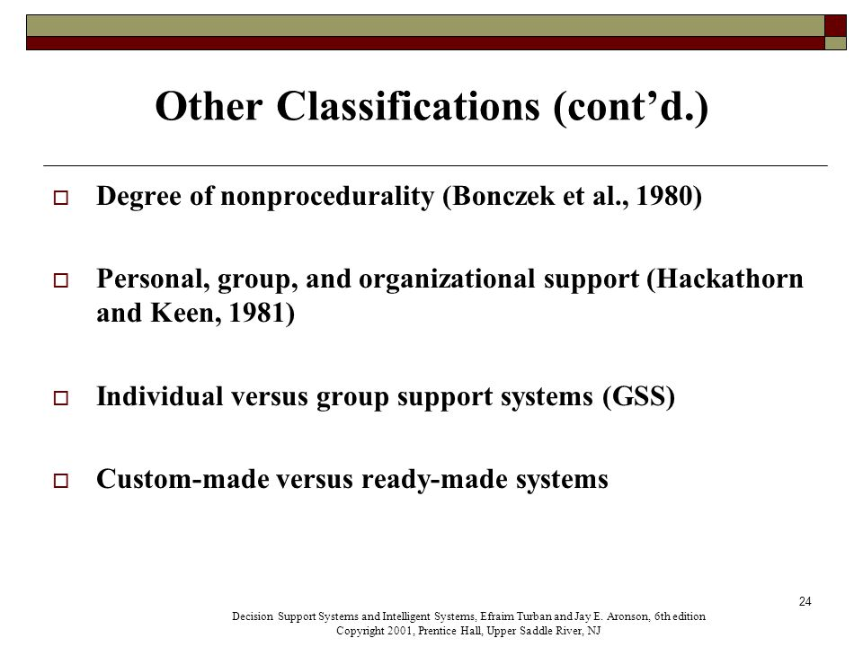 24 Other Classifications (cont'd.)  Degree of nonprocedurality (Bonczek et al., 1980)  Personal, group, and organizational support (Hackathorn and Keen, 1981)  Individual versus group support systems (GSS)  Custom-made versus ready-made systems Decision Support Systems and Intelligent Systems, Efraim Turban and Jay E.