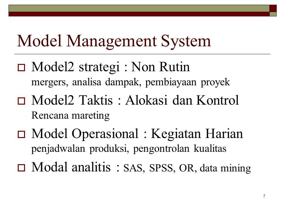 7 Model Management System  Model2 strategi : Non Rutin mergers, analisa dampak, pembiayaan proyek  Model2 Taktis : Alokasi dan Kontrol Rencana mareting  Model Operasional : Kegiatan Harian penjadwalan produksi, pengontrolan kualitas  Modal analitis : SAS, SPSS, OR, data mining