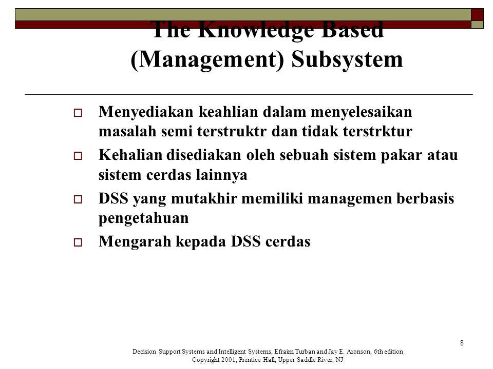 8 The Knowledge Based (Management) Subsystem  Menyediakan keahlian dalam menyelesaikan masalah semi terstruktr dan tidak terstrktur  Kehalian disediakan oleh sebuah sistem pakar atau sistem cerdas lainnya  DSS yang mutakhir memiliki managemen berbasis pengetahuan  Mengarah kepada DSS cerdas Decision Support Systems and Intelligent Systems, Efraim Turban and Jay E.