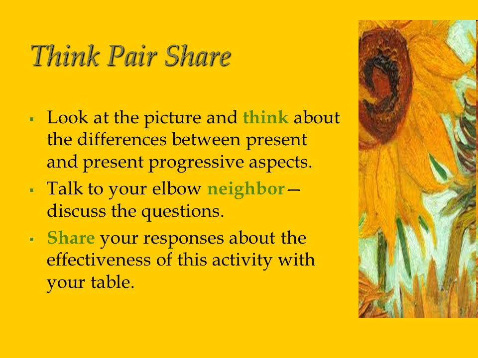 Think Pair Share   Look at the picture and think about the differences between present and present progressive aspects.