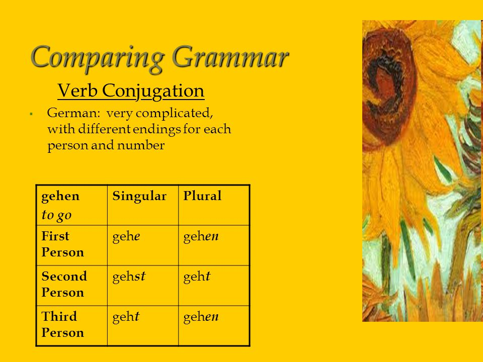Comparing Grammar Verb Conjugation   German: very complicated, with different endings for each person and number gehen to go SingularPlural First Person geh e geh en Second Person geh st geh t Third Person geh t geh en