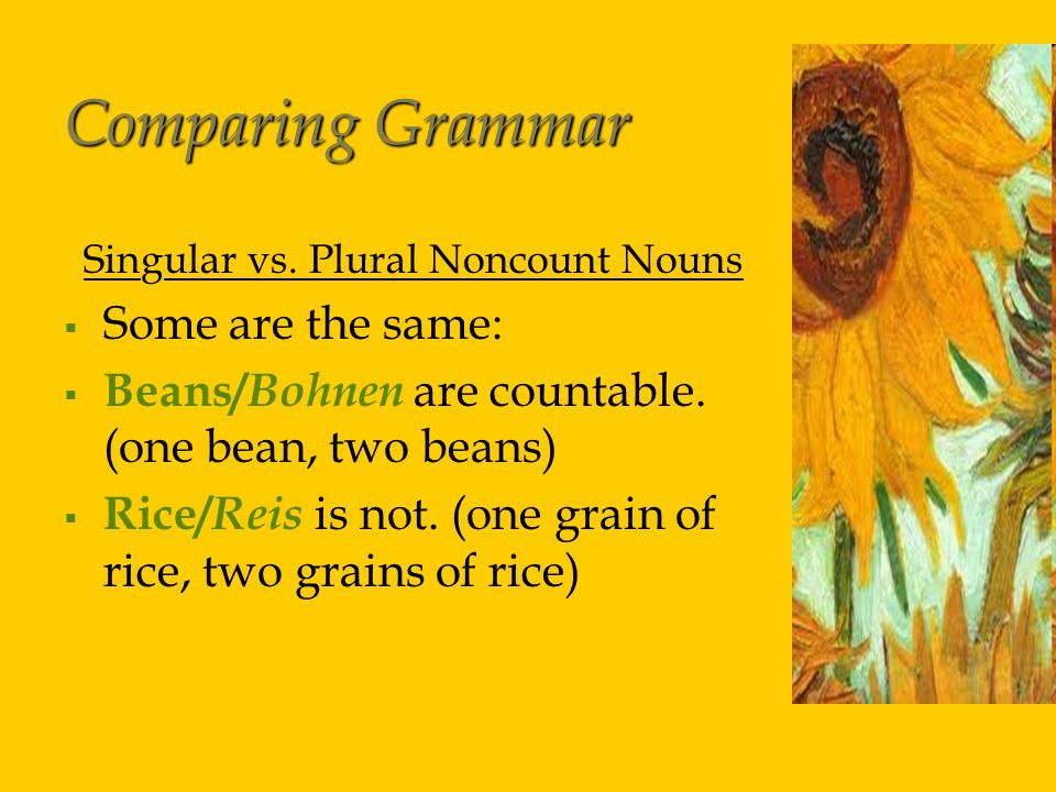 Comparing Grammar Singular vs.