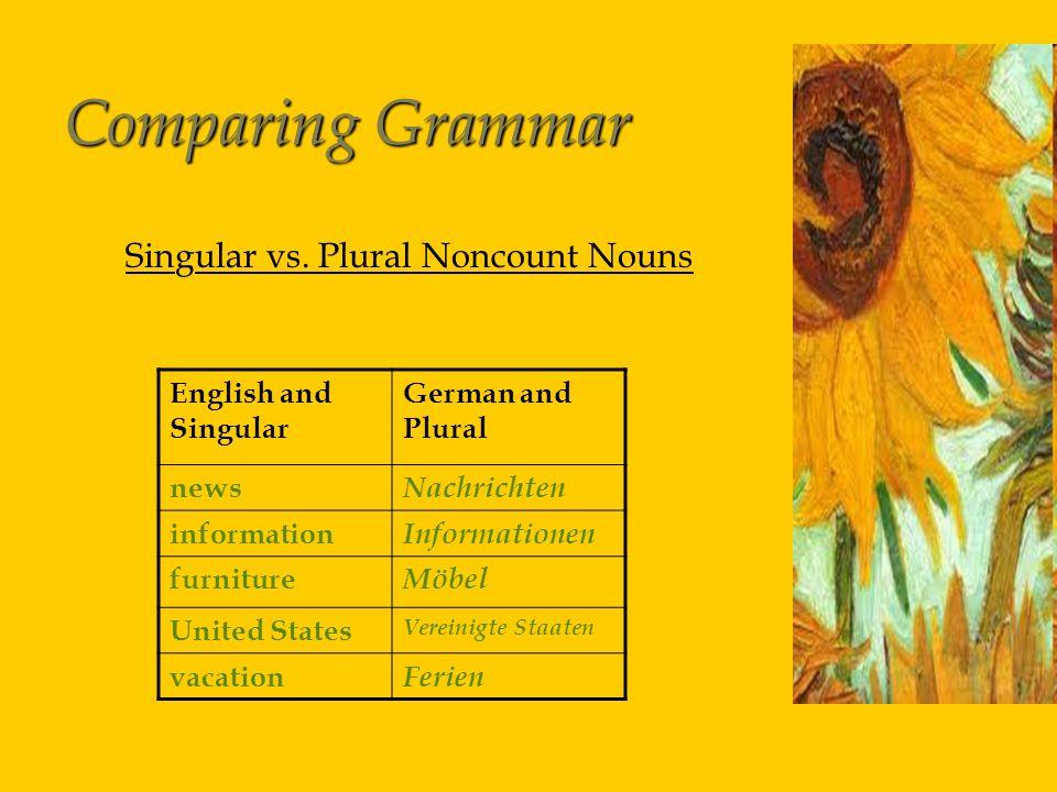 Comparing Grammar Singular vs.