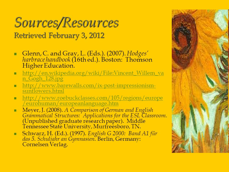 Sources/Resources Retrieved February 3, 2012 Glenn, C.