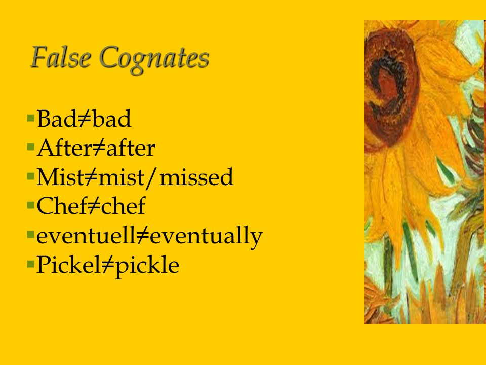 False Cognates  Bad≠bad  After≠after  Mist≠mist/missed  Chef≠chef  eventuell≠eventually  Pickel≠pickle
