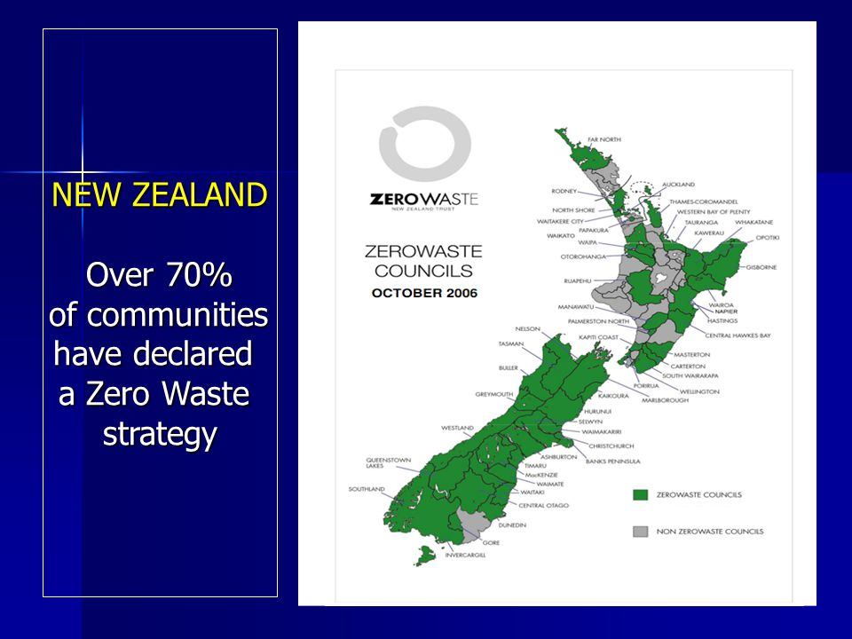 NEW ZEALAND Over 70% of communities of communities have declared a Zero Waste strategy
