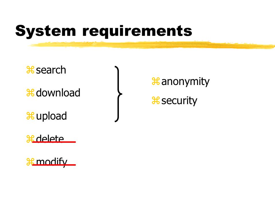 System requirements zsearch zdownload zupload zdelete zmodify z anonymity z security