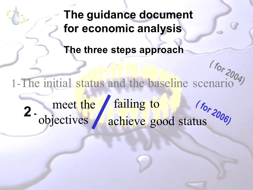 The guidance document for economic analysis The three steps approach 1- The initial status and the baseline scenario ( for 2004) failing to achieve good status meet the objectives 2 - ( for 2006)