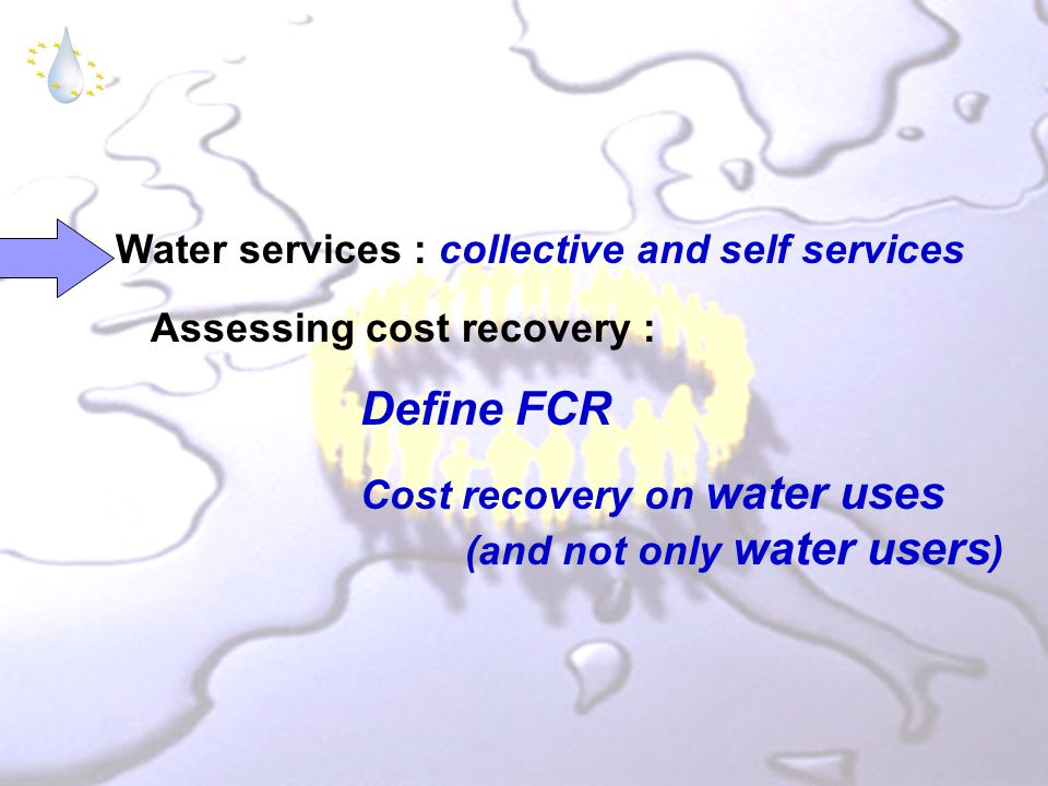 Water services : collective and self services Assessing cost recovery : Define FCR Cost recovery on water uses (and not only water users )
