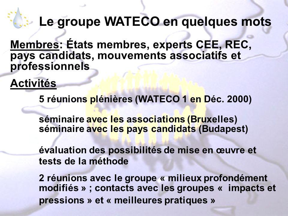 Le groupe WATECO en quelques mots Membres: États membres, experts CEE, REC, pays candidats, mouvements associatifs et professionnels Activités 5 réuni