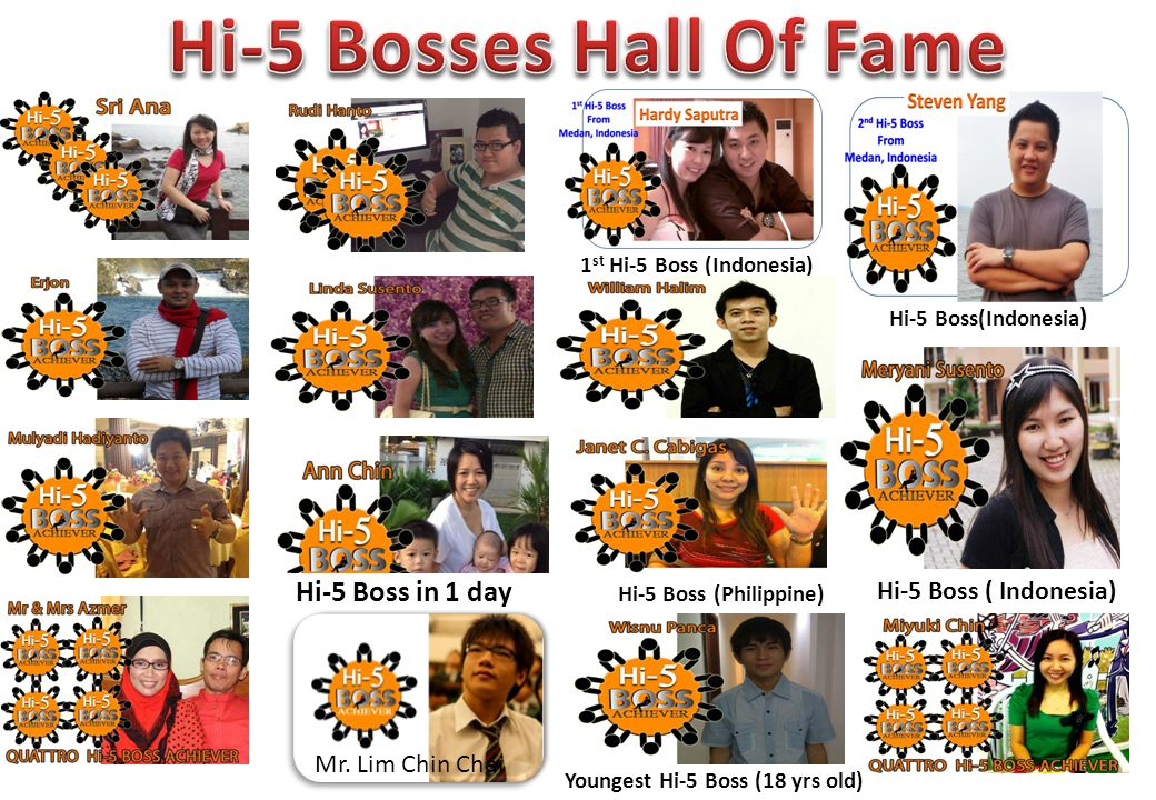 Hi-5 Boss in 1 day Youngest Hi-5 Boss (18 yrs old) Hi-5 Boss (Philippine) 1 st Hi-5 Boss (Indonesia) Hi-5 Boss ( Indonesia)