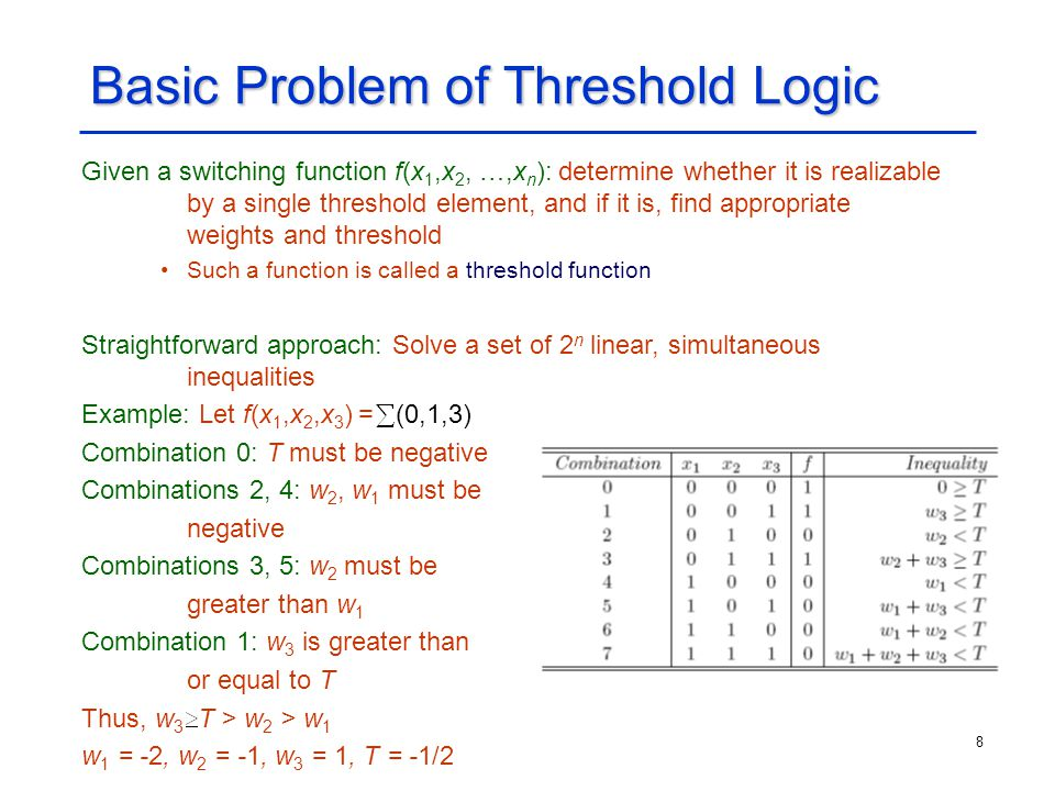 8 Basic Problem of Threshold Logic Given a switching function f(x 1,x 2, …,x n ): determine whether it is realizable by a single threshold element, an