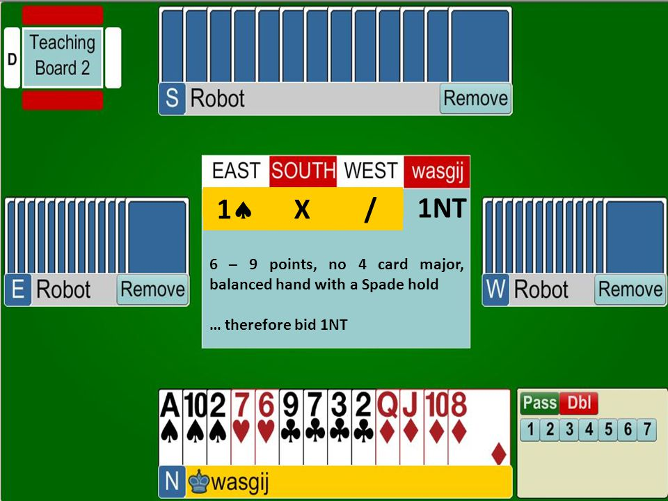 1NT 6 – 9 points, no 4 card major, balanced hand with a Spade hold … therefore bid 1NT 1  X /