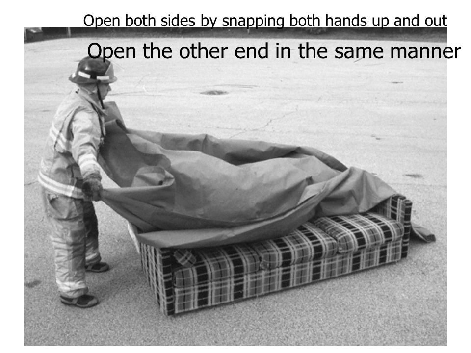 Open both sides by snapping both hands up and out Open the other end in the same manner