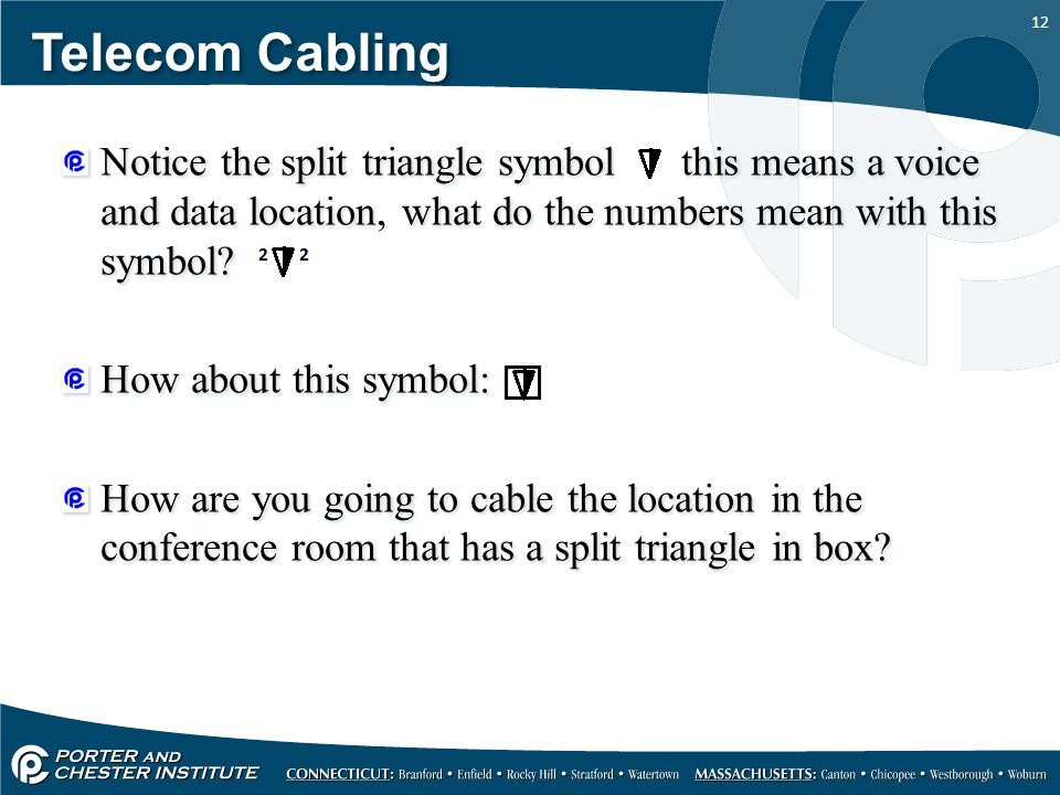 12 Telecom Cabling Notice the split triangle symbol this means a voice and data location, what do the numbers mean with this symbol? How about this sy