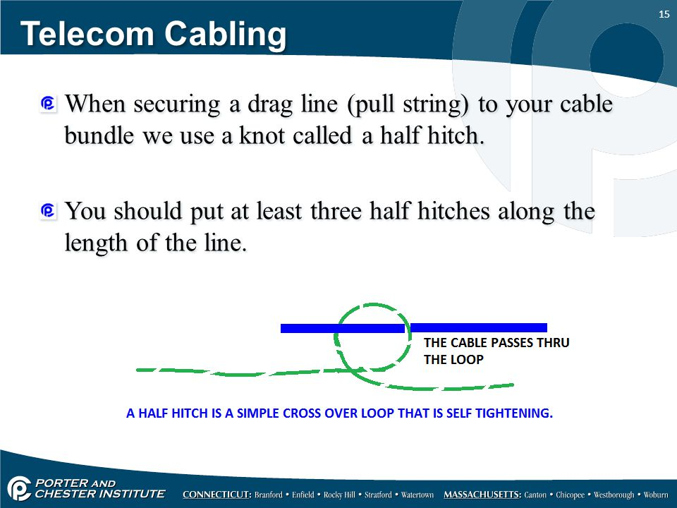 15 Telecom Cabling When securing a drag line (pull string) to your cable bundle we use a knot called a half hitch. You should put at least three half