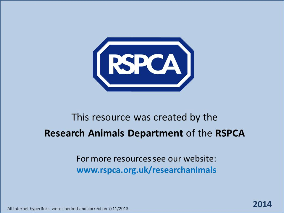 This resource was created by the Research Animals Department of the RSPCA For more resources see our website: All internet hyperlinks were checked and correct on 7/11/2013