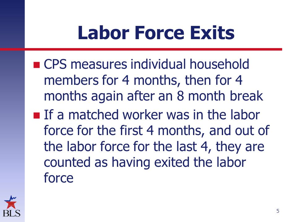 Labor Force Exits 5 CPS measures individual household members for 4 months, then for 4 months again after an 8 month break If a matched worker was in the labor force for the first 4 months, and out of the labor force for the last 4, they are counted as having exited the labor force
