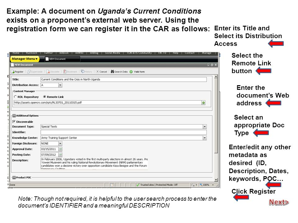Example: A document on Uganda's Current Conditions exists on a proponent's external web server.