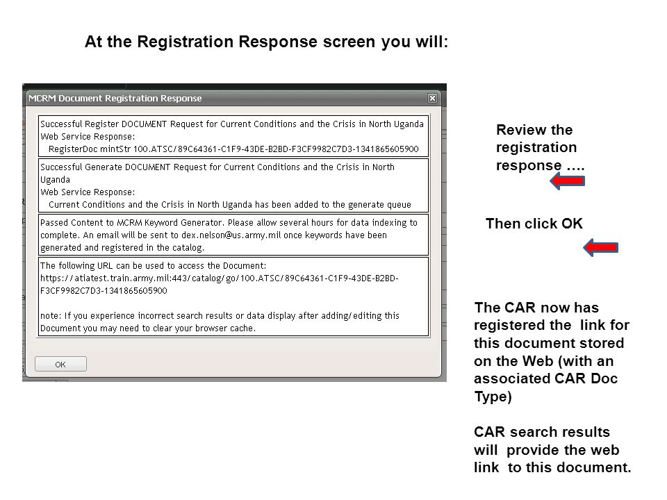 Review the registration response ….