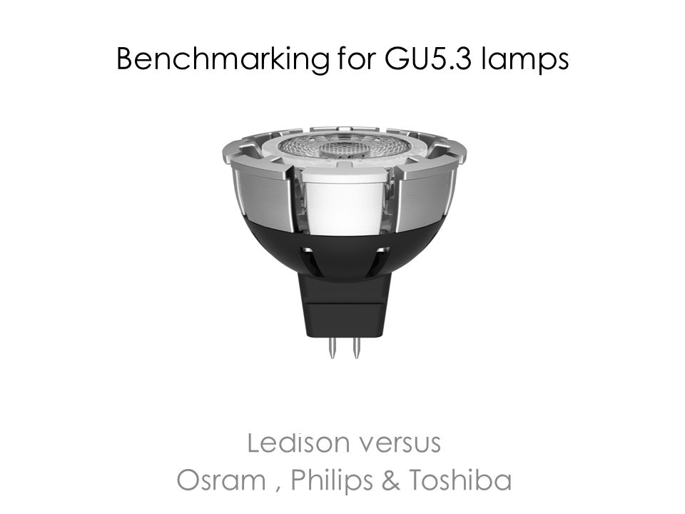 Benchmarking for GU5.3 lamps Ledison versus Osram, Philips & Toshiba