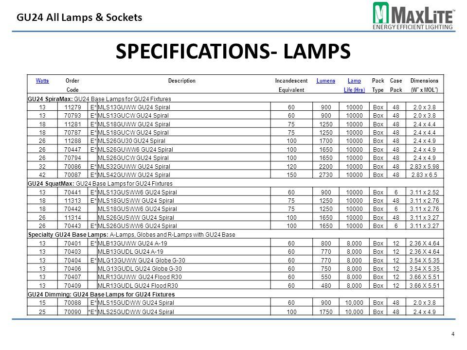 ENERGY EFFICIENT LIGHTING SPECIFICATIONS- LAMPS 4 GU24 All Lamps & Sockets WattsOrder DescriptionIncandescentLumensLampPackCaseDimensions CodeEquivalentLife (Hrs)TypePack(W˝ x MOL˝) GU24 SpiraMax: GU24 Base Lamps for GU24 Fixtures 1311279E*MLS13GUWW GU24 Spiral6090010000Box482.0 x 3.8 1370793E*MLS13GUCW GU24 Spiral6090010000Box482.0 x 3.8 1811281E*MLS18GUWW GU24 Spiral75125010000Box482.4 x 4.4 1870787E*MLS18GUCW GU24 Spiral75125010000Box482.4 x 4.4 2611288E*MLS26GU30 GU24 Spiral100170010000Box482.4 x 4.9 2670447E*MLS26GUWW6 GU24 Spiral100165010000Box482.4 x 4.9 2670794 MLS26GUCW GU24 Spiral100165010000Box482.4 x 4.9 3270086E*MLS32GUWW GU24 Spiral120220010000Box482.83 x 5.98 4270087E*MLS42GUWW GU24 Spiral150273010000Box482.83 x 6.5 GU24 SquatMax: GU24 Base Lamps for GU24 Fixtures 1370441E*MLS13GUSWW6 GU24 Spiral6090010000Box63.11 x 2.52 1811313E*MLS18GUSWW GU24 Spiral75125010000Box483.11 x 2.76 1870442 MLS18GUSWW6 GU24 Spiral75125010000Box63.11 x 2.76 2611314 MLS26GUSWW GU24 Spiral100165010000Box483.11 x 3.27 2670443E*MLS26GUSWW6 GU24 Spiral100165010000Box63.11 x 3.27 Specialty GU24 Base Lamps: A-Lamps, Globes and R-Lamps with GU24 Base 1370401E*MLB13GUWW GU24 A-19608008,000Box122.36 X 4.64 1370403 MLB13GUDL GU24 A-19607708,000Box122.36 X 4.64 1370404E*MLG13GUWW GU24 Globe G-30607708,000Box123.54 X 5.35 1370406 MLG13GUDL GU24 Globe G-30607508,000Box123.54 X 5.35 1370407 MLR13GUWW GU24 Flood R30605508,000Box123.66 X 5.51 1370409 MLR13GUDL GU24 Flood R30604808,000Box123.66 X 5.51 GU24 Dimming: GU24 Base Lamps for GU24 Fixtures 1570088E*MLS15GUDWW GU24 Spiral6090010,000Box482.0 x 3.8 2570090*E*MLS25GUDWW GU24 Spiral100175010,000Box482.4 x 4.9